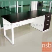 A18A040-3:โต๊ะทำงาน 3 ลิ้นชักทึบ   ขนาด 150W*60D cm.  ขาเหล็กกล่องพ่นสี
