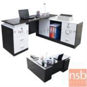 A13A036-1:โต๊ะทำงานผู้บริหารตัวแอล รุ่น TIM-TV0461 ขนาด 160W*140D*75H cm.  สีเชอร์รี่ดำ และสีโอ๊ค-ขาว