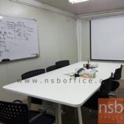 A05A137-1:โต๊ะประชุมขาเหล็กทรงแจกันทำสีขาว หน้าโต๊ะสี่เหลี่ยมมุมมน 185W*120D cm. (ขาชิดริม)