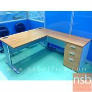 A13A027-1:โต๊ะทำงานตัวแอล รุ่น NSB-RICH  150W*175W2 cm. พร้อมถัง 3 ลิ้นชักใต้โต๊ะ ขาเหล็ก