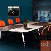 A22A007:โต๊ะประชุม 8-12 ที่นั่ง สีทูโทน ขาเหล็ก 320W cm FC40-6123 พร้อมปลั๊กไฟ Pop up Universal Socket บนโต๊ะ 2 จุด