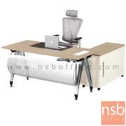 A30A028-1:โต๊ะผู้บริหารทรงสี่เหลี่ยม รุ่น G2050  ขนาด 160W cm.   พร้อมบังตาโค้งสีเงิน ขาเหล็กทรงตัวเอปลายแหลม