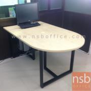 A05A131-1:โต๊ะเข้ามุมหัวโค้ง   ขนาด 150W cm.    ขาเหล็กกล่อง