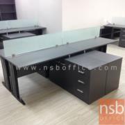 A18A064-1:โต๊ะทำงานตัวแอลขาเหล็ก พร้อมตู้ข้างเตี้ย LW-150 ปิดผิวเมลามีน