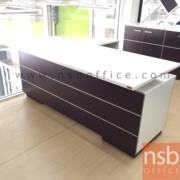 A15A008:โต๊ะทำงานผู้บริหารตัวแอล ขนาด 1801W*180W2 cm.  มี 2 ลิ้นชักข้าง พร้อมตู้ข้างบานเลื่อน (ไม่รวมกระจก)