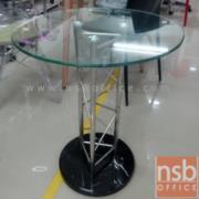 A09A093:โต๊ะกระจกกลม Di 60 cm. ฐานรองหินแท้สีดำ รุ่น GH-802 โครงเหล็กชุบโครเมี่ยม