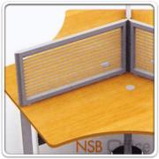 P04A005-1:มินิสกรีนกระจกขัดลายกั้นโต๊ะ 60 ซม. สูง 40 ซม. เสาเหล็กพ่นเทา