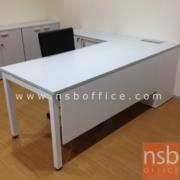 A13A161:โต๊ะทำงานผู้บริหารตัวแอล 200W1*180W2 cm ขาเหล็กกล่องพร้อมตู้ข้าง