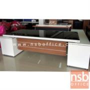 A34A005:โต๊ะทำงานผู้บริหารตัวแอล หน้ากระจก รุ่น S-LTZ  ขนาด 258W*187.5D cm.  ลายไม้ซีบราโน่-ขาว