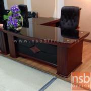 A06A085:โต๊ะบริหารตัวแอล 200W cm. มีกระจกหน้าโต๊ะ รุ่น IDS-CORONA-1 พร้อมตู้ข้าง และลิ้นชัก