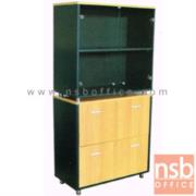 C10A017:ตู้เก็บเอกสารสูง บนกระจก ล่าง 2 บานเลื่อนลิ้นชัก (แขวนแฟ้ม) สูง 165  ซม. เสริมขาเหล็กชุบโครเมี่ยม
