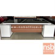A34A005:โต๊ะทำงานตัวแอลหน้ากระจก  รุ่น S-LTZ   ขนาด 258W cm. สีซีบราโน่-ขาว