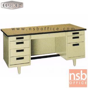 โต๊ะทำงานเหล็กหน้าโฟเมก้าลายไม้ 8 ลิ้นชัก Lucky NT (4.5, 5, 6 ฟุต) กุญแจล๊อคที่เดียวล๊อคหมดทุกลิ้น:<p>สินค้าผลิต 3 ขนาดคือ 4.5 , 5 และ 6 ฟุต ตัวโต๊ะเป็นสีครีมล้วน หน้า TOP โฟเมก้าลายไม้ (TD 9325 PL) / รุ่นพิเศษ กุญแจล๊อคที่ลิ้นชักกลางที่เดียว ระบบจะล๊อครวมให้หมดทั้งลิ้นชักกลาง ถังลิ้นชักซ้าย และถังลิ้นชักขวา / มีที่พักเท้าด้านล่าง *ราคานี้ไม่รวมกระจก*</p>