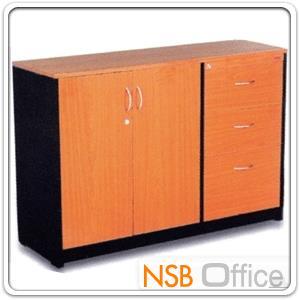 ตู้เอกสาร 2 บานเปิด พร้อม 3 ลิ้นชักข้าง 120W cm. รุ่น FD-NSB มีกุญแจล็อค:<p>ผลิต 3 ขนาดความสูงคือ 75, 80 และ 85 ซม. (120W*40D cm.) โครงตู้ผลิตจากไม้ปาร์ติเกิลบอร์ด TOP ปิดผิวเมลามีน กันร้อน กันชื้น&nbsp;</p>