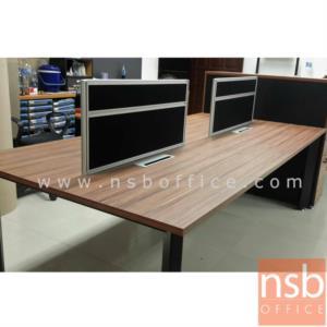 """โต๊ะทำงานกลุ่ม 4 ที่นั่ง พร้อมป็อบอัพและมินิสกรีนกั้นหน้าโต๊ะ PS-SWB42 สีวอลนัทตัดดำ:<p>ขนาด 240W*120W*115H cm. &nbsp;โต๊ะขาเหล็กพ่นดำ / TOP ปิดผิวเมลามีนทนความร้อนและรอยขีดข่วน /&nbsp;&nbsp;อุปกรณ์เสริมโต๊ะทำงานกลุ่ม ถาดวางเอกสาร<a href=""""http://www.nsboffice.com/productdetail-gid-11945.aspx"""">&nbsp;A33A024</a>&nbsp;, กล่องรางรายสายไฟ&nbsp;<a href=""""http://www.nsboffice.com/productdetail-gid-11946.aspx"""">A33A025</a>&nbsp;, รางร้อยสายไฟแบบตั้ง&nbsp;<a href=""""http://www.nsboffice.com/productdetail-gid-11947.aspx"""">A33A026</a></p>"""