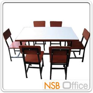 ชุดโต๊ะอ่านหนังสือ 120W*60D*65H cm โครงเหล็ก หน้าโฟเมก้าขาว (พร้อมเก้าอี้ 6 ตัว):<p>ประกอบด้วย โต๊ะอ่านหนังสือหน้าโฟเมก้าขาว 120W*60D*65H ซม. จำนวน 1 ตัว / เก้าอี้นั่งสูง 64 ซม.จำนวน 6 ตัว / โครงเหล็ก หน้าไม้อัดหนา 10 มม. เหล็กขนาดประมาณ 1*1 นิ้ว</p>