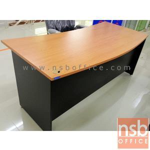 โต๊ะผู้บริหารหน้าโค้งเสี้ยว 180W*80D cm. (เลือกพร้อมตู้ 2 ลิ้นชักล้อเลื่อน) สีเชอร์รี่ดำ:<p>ขนาด 180W*80D*75H cm เจาะรูร้อยสาย 1 รูด้านขวา / สามารถเลือกซื้อพร้อม ตู้ 2 ลิ้นชักล้อเลื่อน 47W*51D*60H cm / ผิวเมลามีน เชอร์รี่ดำ</p>