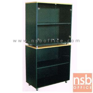 ตู้เก็บเอกสารสูง บนกระจก ล่างบานโล่ง สูง 165  ซม. เสริมขาเหล็กชุบโครเมี่ยม:<p>ขนาด 80W*40D*165H cm บน 2 ช่องโล่งมีบานเปิดกระจก ช่องล่าง 2 บานโล่ง / TOP ปิดผิวเมลามีน กันชื้น กันร้อน&nbsp;</p>