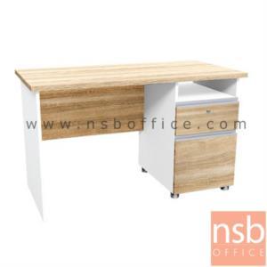 โต๊ะทำงานพร้อมตู้ลิ้นชักขวา ขนาด 120W,150W,160W cm. รุ่น SR-ND256 สีเนเจอร์ทีค-ขาว:<p>ผลิต 3 ขนาด คือ 120W*60D*75H cm. , 150W*60D*75H cm. , 160W*60D*75H cm.&nbsp; ผลิตจากไม้ปาร์ติเกิ้ลบอร์ด ปิดผิวด้วยเมลามีน (MELAMINE RESIN FILM) หนา&nbsp; 25 มม.&nbsp; / แข็งแรง ทนทาน ป้องกันความชื้น&nbsp;</p>