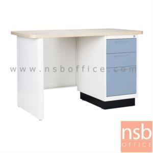 โต๊ะทำงานหน้า Melamine ลายไม้ (สีบีช) 4 ฟุต:<p>3 ลิ้นชัก / ขนาด 120W*60D*75H cm. / Keylock&nbsp;</p>