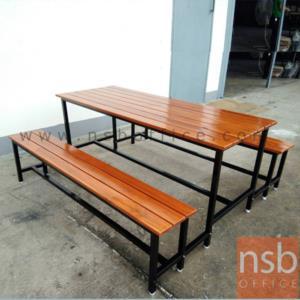 ชุดโต๊ะและเก้าอี้โรงอาหารไม้ระแนง 150W,180W cm.:<p>ชุดโต๊ะโรงอาหารหน้าไม้สักทองดีระแนง แบบขาเชื่อมติดกันโดยใช้ก้ามปูยืดติด</p>