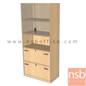 ตู้เอกสารบนสูง 5 ชั้น บนบานเปิดกระจก ล่าง 2 ลิ้นชักแฟ้มแขวน มีตรงกลางช่องโล่ง 180H, 200H cm. เมลามีน:<p>ผลิต 2 ขนาดคือ 90W*40D*200H cm. (ด้านบนวางแฟ้มได้ 3 ช่อง) และ 90W*40D*180H cm&nbsp;(ด้านบนวางแฟ้มได้ 2 ช่องครึ่ง)</p>