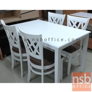 ชุดโต๊ะกินข้าวไม้ยางพาราแท้สีขาว รุ่น ID-SEOUL พร้อมเก้าอี้ :<p>ประกอบด้วยโต๊ะ 1 ตัว พร้อมเก้าอี้ 4 ตัว /ขนาดโต๊ะ 120W*75D*75H cm. โครงโต๊ะ-เก้าอี้ทำจากไม้ยางพาราแท้สีขาว ที่นั่งบุฟองน้ำหุ้มหนังเทียมสีน้ำตาล (สินค้าไม่สมบูรณ์ 100%)</p>