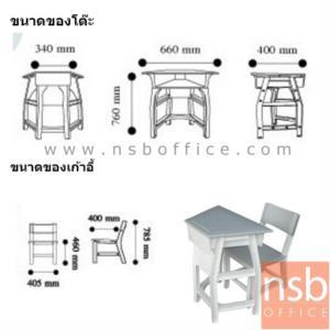 """ชุดโต๊ะนักเรียนพลาสติก ทรงสี่เหลี่ยมคางหมู รุ่น TH-L ระดับชั้นมัธยม มีบังตา:<p>1 ชุดประกอบด้วยโต๊ะ + เก้าอี้ /โต๊ะขนาด 66W1(ด้านคนนั่ง)*34W2*40D*76H cm. /เก้าอี้ขนาด 40.5W*40D*46H1(สูงถึงที่นั่ง)*78.5H2(สูงถึงพนักพิง) cm. /โต๊ะผ่านการทดสอบตามมาตรฐาน BS.4875 &ndash; เก้าอี้ผ่านมาตรฐานอุตสาหกรรม มอก.1495-2541 /โครงสร้างผลิตจากพลาสติก(POLYPROPYLENE) เป็นระบบ FULLY KNOCKDOWN 100% สามารถถอดเปลี่ยนได้ทุกชิ้น มีความปลอดภัยสูง มุมเหลี่ยมไม่คม **ซึ่งรูปแบบถูกออกแบบมาเพื่อรองรับการปรับรูปการเรียนการสอนเป็นกลุ่ม นำมาจัดเรียงได้หลายรูปแบบ</p> <p><span style=""""text-decoration: underline; font-size: medium; color: #ff0000;""""><strong>**กรณีตั้งเป็นชุดโต๊ะวงกลมแบบกลุ่ม ต้องซื้อ 8 ตัว**</strong></span></p>"""