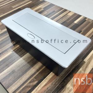 ป็อบอัพสีเหลี่ยมมุมมน (2 power , 2 lan, 1 stereo, 1 USB, 1 vga , 1 microphone):<p><span>ขนาด 26.3W*11.6D*6.5H cm. (ขนาดช่องเจาะ 23W*11D cm.) ฝาผลิตจากอลูมิเนียม มีปุ่มกดเปิดฝาปลั๊กไฟอัตโนมัติเมื่อต้องการใช้งาน</span><br /><span>หมายเหตุ</span><span>&nbsp;หัว LAN keystone ชนิด cat-5e (กรณีต้องการใช้สายแลน cat-6 มาต่อ แนะนำใช้สายยี่ห้อ LINK เนื่องจากขนาดสายจะเล็กกว่าของ AMP และไม่มีแกนด้านใน)</span></p>