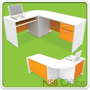 ชุดโต๊ะทำงานตัวแอลสีสัน 180W*140D cm MT-TABLE-L เมลามีน:<p>ขนาดรวม 180W*140D*75H cm. เลือกสลับซ้ายหรือขวา / แผ่น TOP หนา 25 มม. ปิดผิวเมลามีน กันร้อน กันชื้น /แผ่นขาปิดผิวพีวีซี (PVC) หนา 19 มม. แผ่นกั้นหน้าโต๊ะจะ SET เข้าด้านในสะดวกต่อผู้มานั่งติดต่องาน /ผลิต 2 สีคือสีขาวสลับส้ม(WHO) และสีขาวสลับเขียว(WHG)</p>