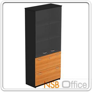 ตู้เอกสารสูง บนบานเปิดกระจก ล่างใส่แฟ้มแขวน 180H, 200H cm. เมลามีน:<p>ผลิต 2 ขนาดคือ 90W*40D*200H cm. (ด้านบนวางแฟ้มได้ 3 ช่อง) และ 90W*40D*180H cm&nbsp;(ด้านบนวางแฟ้มได้ 2 ช่องครึ่ง)</p>
