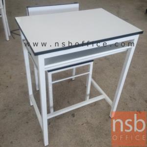 ชุดโต๊ะนักเรียนเด็กโต ประถม/มัธยม โครงเหล็กสีขาว โฟเมก้าขาว TC-05:<p>ขนาดโต๊ะ 40W*60D*75H cm. ขนาดเก้าอี้ 34W*35D*77H cm (ความสูงที่นั่ง 44H cm ที่นั่งลึก 32D cm) โครงเหล็กพ่นขาว หน้าโต๊ะโฟเมก้าขาว โต๊ะมีช่องใส่ของ</p>