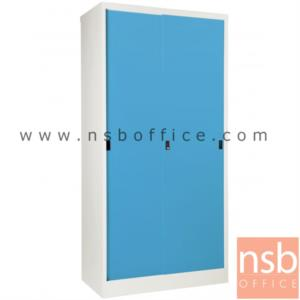 ตู้บานเลื่อนทึบ สูง 183 ซม.:<p>91.4W*45.7D*182.9H cm. / Keylock / ผลิต 8 สีคือ สีขาวมุก, สีดำ, สีแดง, สีม่วง, สีส้ม, สีฟ้า, สีเขียว และสีเทาฟ้า</p>