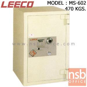 ตู้เซฟนิรภัย 470 กก. ลีโก้ รุ่น LEECO-MS-602 มี 1 กุญแจ 1 รหัส (เปลี่ยนรหัสไม่ได้):<p>ตู้นิรภัยขนาดใหญ่ 1 กุญแจ 1 รหัส ภายในประกอบด้วยลิ้นชักพร้อมกุญแจล็อค มีชั้นวางของปรับระดับสูง-ต่ำได้ คุณสมบัติพิเศษคือขอบตู้หนากว่าทุกรุ่น หน้าบานประตูใช้แผ่นเหล็กหนา 10 มม. ชุดล็อคทำจากเหล็กเพลาตัน/หูบานพับทำจากเหล็กม้วนหนา 8 มม. สีที่ใช้พ่นตู้นิรภัยคือ ประเภทโพลียูริเทน(POLYURETHAN) สามารถกันไฟได้นาน 1 ชั่วโมง **ตัวหมุนสีเงิน ไม่สามารถเปลี่ยนรหัสได้**</p>