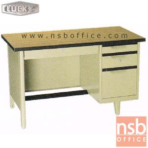 โต๊ะทำงานเหล็กหน้าโฟเมก้าลายไม้ 4 ลิ้นชัก ยี่ห้อ Lucky รุ่น NTC (ผลิต 3 , 3.5 และ 4ฟุต)  :<p>ผลิต 3 ขนาดคือ 3 , 3.5 และ 4ฟุต / ตัวโต๊ะเป็นสีครีมล้วน หน้า TOP โฟเมก้าลายไม้ (PP 9325 PL) / มีกุญแจล็อคและที่พักเท้าด้านล่าง *ราคานี้ไม่รวมกระจก*</p>