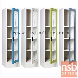ตู้เหล็กเอนกประสงค์ 1 บานเปิดกระจกสูง 4 ช่อง TL-400 ( 44W*40.7D*176H cm):<p>ตู้โชว์บานเปิดกระจกสูง / 3 แผ่นชั้น ปรับระดับได้ / บานเปิดกระจกสูง พร้อม กุญแจล็อค / ขนาด 440(W)*407(D)*1760(H) ซม. / ผลิต 8 สีคือ สีขาวมุก, สีดำ, สีแดง, สีม่วง, สีส้ม, สีฟ้า, สีเขียว และสีเทาฟ้า</p>