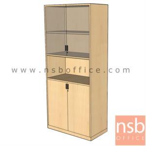 ตู้เอกสารบนสูง 5 ชั้น บานเปิดกระจก ล่างบานเปิดทึบ ตรงกลางช่องโล่ง 180H, 200H cm. เมลามีน:<p>ผลิต 3 ขนาด คือ 80W*40D*200H cm., 90W*40D*200H cm. (ด้านบนวางแฟ้มได้ 3 ช่อง) และ 90W*40D*180H cm&nbsp;(ด้านบนวางแฟ้มได้ 2 ช่องครึ่ง) / ปิดผิวเมลามีน กันชื้น กันร้อน&nbsp;</p>