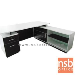 โต๊ะทำงานผู้บริหารตัวแอล 1801W*180W2 cm. มี 2 ลิ้นชักข้าง พร้อมตู้ข้างบานเลื่อน:<p>ขนาด ก180*ล180*ส75 ซม. มี 2 ลิ้นชัก พร้อมตู้ข้าง /สามารถเลือกสลับซ้ายหรือขวาได้ตามต้องการ/ TOP เมลามีน หนา 25 มม. คิ้วบังหน้าติดอลูมิเนียม รูปแบบทันสมัย /ผลิตสีเวงเก้-ขาว</p>