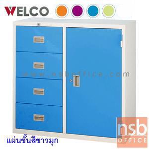 ตู้เอกสาร 1 บานเปิดพร้อม 4 ลิ้นชักข้างเตี้ย 87.8H cm. 3 ฟุต ยี่ล้อเวลโก(WELCO):<p>ขนาด 88W*40.6D*87.8H cm. ผลิตจากเหล็กหนา 0.6 มม. / หน้าบานผลิต 5 สีคือสีส้ม, สีม่วง, สีฟ้า, สีเขียว และสีเทาสลับ(GT)</p>