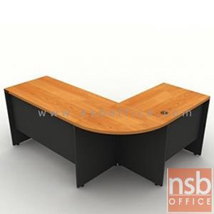 โต๊ะทำงานตัวแอล SMART 180W*140D cm เมลามีน เชอร์รี่ดำ (ตัวมุมเป็นแผ่นไม้):<p>ขนาดรวม 180W1*140W2*60D*75H cm เมลามีน / ชุด 3 ชิ้นประกอบด้วย โต๊ะทำงาน 2 ลิ้นชัก 120W*60D*75H cm โต๊ะคอมพิวเตอร์ 80W*60D*75H cm และแผ่นไม้มุมโค้ง R60 cm / เลือกติดตั้งแอลซ้ายหรือแอลขวา / สีเชอร์รี่ดำสีเดียว</p>