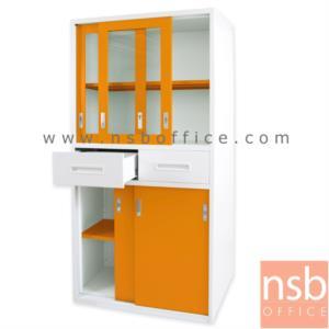 ตู้อเนกประสงค์ บานเลื่อนบนกระจก-ล่างทึบ พร้อม 2 ลิ้นชักกลาง:<p>ขนาด 91W*46D*183H cm&nbsp; ขนาดลิ้นชักกว้าง 43 ซม&nbsp; ผลิต 2 สี คือสี ขาว/เขียวและขาว/ส้ม</p>