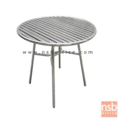 โต๊ะสแตนเลส หน้าโต๊ะระแนง รุ่น QTS-112:<p>ขนาด 75Di*75H ทำจากสแตนเลสทั้งตัว พร้อมจุกยางรองขา แข็งแรง ไม่เป็นสนิม</p>
