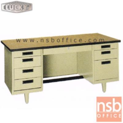 โต๊ะทำงานเหล็กหน้าโฟเมก้าลายไม้ 8 ลิ้นชัก ยี่ห้อ Lucky รุ่น NT 4.5, 5, 6 ฟุต รุ่นพิเศษ กุญแจล๊อคที่เดียวล๊อคหมดทุกลิ้นชัก:<p>สินค้าผลิต 3 ขนาดคือ 4.5 , 5 และ 6 ฟุต ตัวโต๊ะเป็นสีครีมล้วน หน้า TOP โฟเมก้าลายไม้ (TD 9325 PL) / รุ่นพิเศษ กุญแจล๊อคที่ลิ้นชักกลางที่เดียว ระบบจะล๊อครวมให้หมดทั้งลิ้นชักกลาง ถังลิ้นชักซ้าย และถังลิ้นชักขวา / มีที่พักเท้าด้านล่าง *ราคานี้ไม่รวมกระจก*</p>