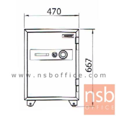 ตู้เซฟนิรภัยชนิดหมุน 105 กก. รุ่น PRESIDENT-SM มี 1 กุญแจ 1 รหัส (รหัสใช้หมุนหน้าตู้):<p>ขนาดภายนอก 47W*50.4D*66.7H cm. ขนาดภายใน 33.2W*33.5D*47.2H cm. หน้าบานตู้มี 1 กุญแจ 1 รหัส ภายในมี 1 ลิ้นชักพร้อมกุญแจล็อคแยก และมี1 ถาดพลาสติก /ความจุ 52 ลิต สามารถกันไฟได้นาน 2 ชั่วโมง</p>