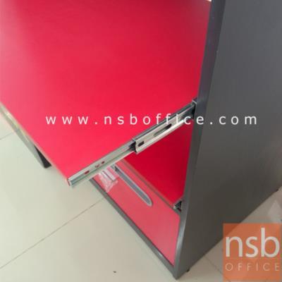 ตู้วางปริ้นเตอร์สูง 120H cm (วางได้ 3 เครื่อง)  :<p>ผลิตขนาด 60W และ 70W cm ตู้ปิดผิวเมลามีนสีพิเศษ ชั้นบนเหมาะสำหรับวางเครื่อง fax หรือ multifunction / ชั้นกลางวางปริ้นเตอร์ inkjet / ชั้นล่างวางปริ้นเตอร์ laser หรือ dot matrix (มีช่อง feed กระดาษด้านหลังจากกล่องลิ้นชัก) / ตัวชั้นสามารถเลื่อนเข้าออกกรณีกระดาษติด ใช้งานได้สะดวก / ข้างหลังเป็นตู้โล่งสะดวกการต่อสายไฟ / ล่างลิ้นชักเก็บของหรือกระดาษต่อเนื่อง</p>