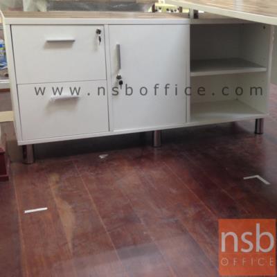 ตู้ข้างโต๊ะ 2 ลิ้นชัก 1 บานเปิด 2 ช่องโล่ง 120W*40D*65H cm. :<p>ขนาด 120W*40D*65H cm. เมลามีน กันร้อน กันชื้น</p>