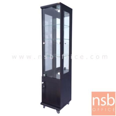 ตู้โชว์กระจกดาวน์ไลท์ 1 บานเปิดล่าง สูง 180 ซม. รุ่น XCS-BC300H มีไฟในตัว (หลังกระจกเงา):<p>ขนาด 40W*40D*180H cm. ภายในมี 3 แผ่นชั้น(4 ช่อง) แผ่นหลังเป็นกระจกเงา แผ่นข้าง-แผ่นหน้าเป็นกระจกใส ด้านล่างมี 1 บานเปิดทึบ โครงผลิตจากไม้ปาร์ติเกิลบอร์ด มีให้เลือก 3 สีคือสีขาว,&nbsp;สีโซลิต และสีโอ๊ค</p>