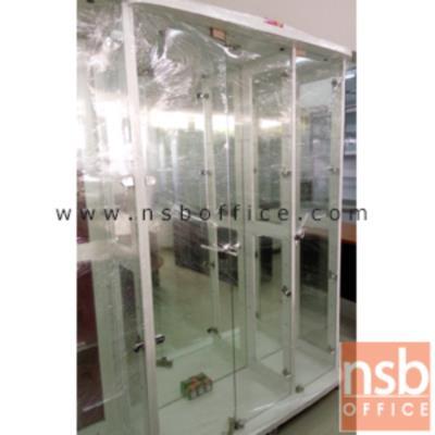 ตู้โชว์กระจกดาวน์ไลท์ ขนาด 120W*40D*190H cm. รุ่น DW-7651 มีไฟในตัว:<p>ขนาด 120W*40D*190H cm. ภายในมี 4 แผ่นชั้น(5 ช่อง) แผ่นหลังเป็นกระจกใส แผ่นข้าง-แผ่นหน้าเป็นกระจกใส มี 2 ลิ้นชัก โครงผลิตจากไม้ปาร์ติเกิลบอร์ด มีให้เลือก 3 สีคือสีขาว(เคลือบเมลามีนล้วน) , สีโซลิต(เคลือบเมลามีนล้วน)และสีโอ๊ค(เคลือบฟลอยด์) (หลังกระจกเงา)</p>