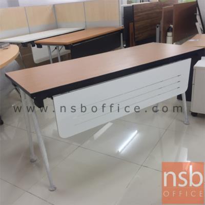 โต๊ะพับขาวีปลายเรียว หน้าไม้เมลามีน บังโป๊เหล็กพ่นดำ 150W, 180W (60D/75D cm) (ซ้อนเก็บได้):<p>ผลิต 4 ขนาดคือ 150W*60D, 180W*60D, 150W*75D และ 180W*75D cm. โครงขาผลิตจากเหล็กกลมขนาดเส้นผ่านศูนย์กลาง 1 1/4 นิ้ว ปลายขาเรียว ชุบโครเมี่ยม พับเก็บได้ แผ่นบังตาสูง 30 ซม. ผลิตจากเหล็กขึ้นรูป พับเก็บได้ ปลายขาโต๊ะมีปุ่มปรับองศาได้ TOP ผลิตจากไม้ปาร์ติเกิลบอร์ด ปิดผิวเมลามีนหนา 25 มม.</p>