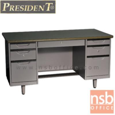 โต๊ะทำงานเหล็ก 7 ลิ้นชัก เพรสสิเด้นท์ รุ่น DE-2654,DE-3060,DE-3472:<p>ผลิต 3 ขนาดให้เลือกคือ 4.5, 5 และ 6 ฟุต /มี 7 ลิ้นชัก(ซ้ายและขวาฝั่งละ 3 ลิ้นชักระบบล็อคกุญแจเดียว พร้อม 1 ลิ้นชักกลาง) หน้าโต๊ะทำจากเหล็กปิดทับด้วยพีวีซีพร้อมขอบยางกันกระแทก &nbsp;โครงโต๊ะผลิตจากเหล็กหนา 0.6 มม. &nbsp;มีที่พักเท้า&nbsp; ผลิตเฉพาะสีเทากลาง(G3)</p>